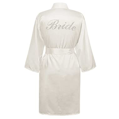 Swhiteme Bridal Robe with Rhinestones, 3/4 Sleeves