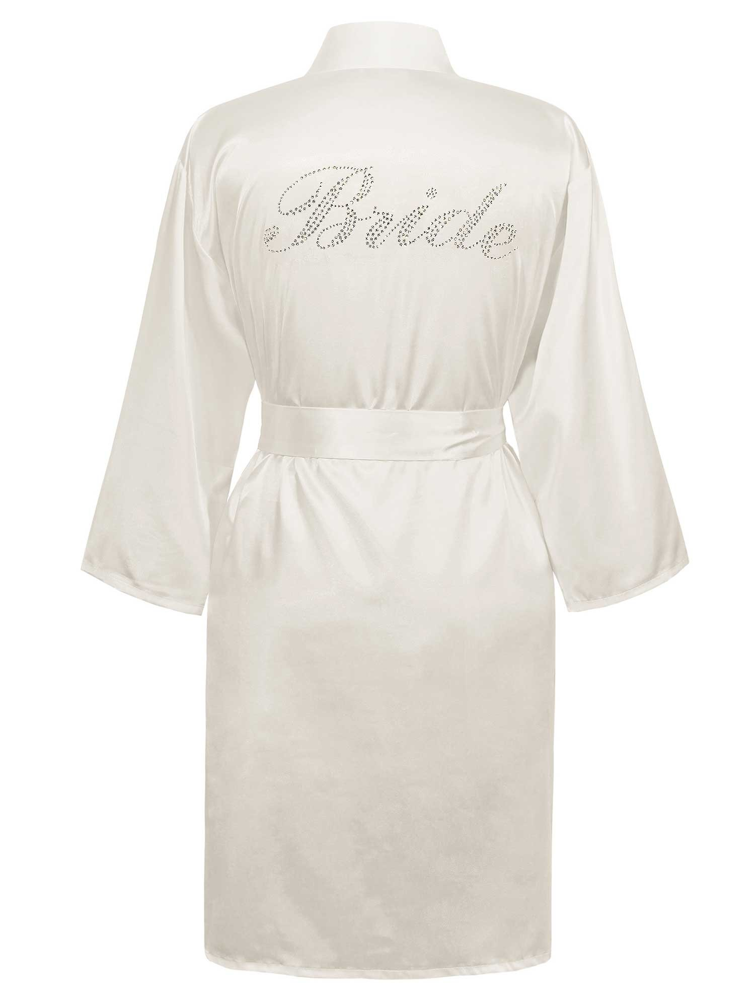 Swhiteme Bridal Robe with Rhinestones, Bride, Small/Medium, White