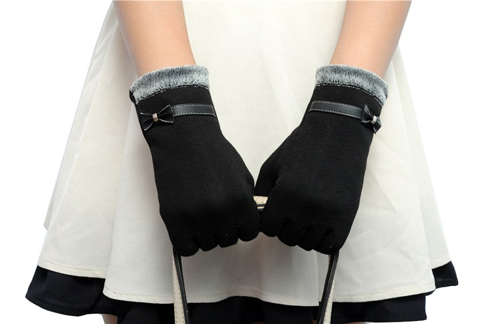 Women's Winter Gloves Touchscreen Texting Glove Fleece Lining Show Thin Black,,One Size by Kitten Fashion (Image #5)