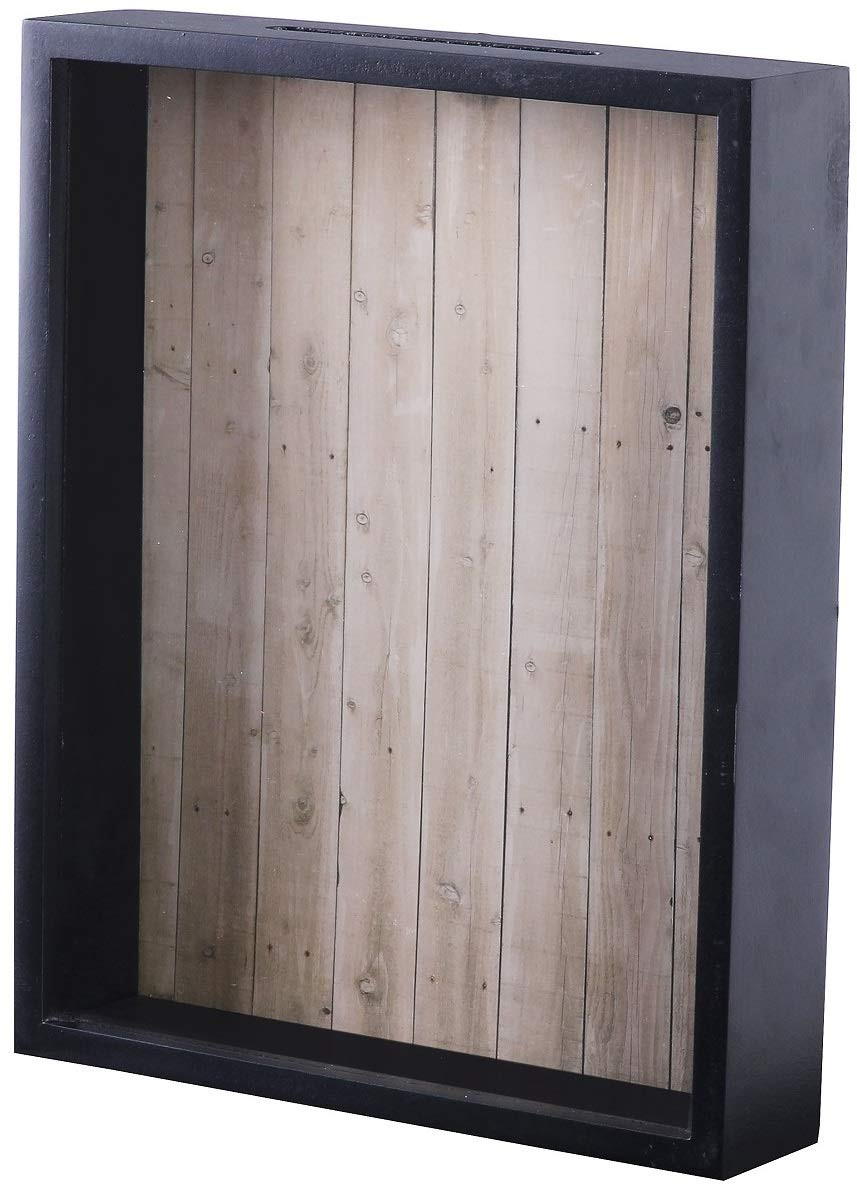 Shadow Box Display Case - Top Loading Black Wood Frame - Showcase Bottle Caps, Shells, Ticket Stubs, Airline Tickets, and More (Brown) Upstreet