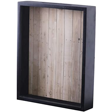 Shadow Box Display Case – Top Loading Black Wood Frame - Showcase Bottle Caps, Shells, Ticket Stubs, Airline Tickets, and More (Brown)