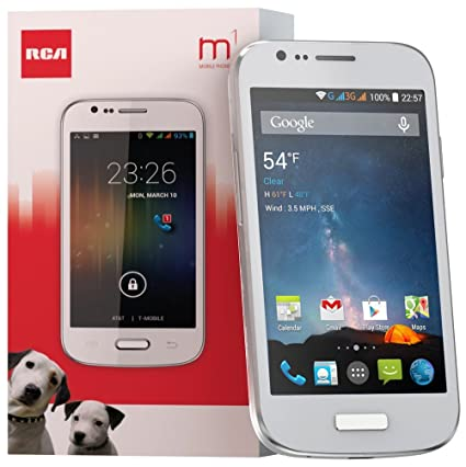 RCA M1 4 0 Unlocked Cell Phone, Dual SIM, 5MP Camera, Android 4 4, 1 3GHz  (White)