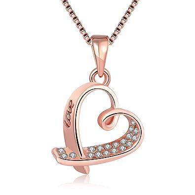 Pendentif pour femme plaqué or rose en forme de cœur inscription