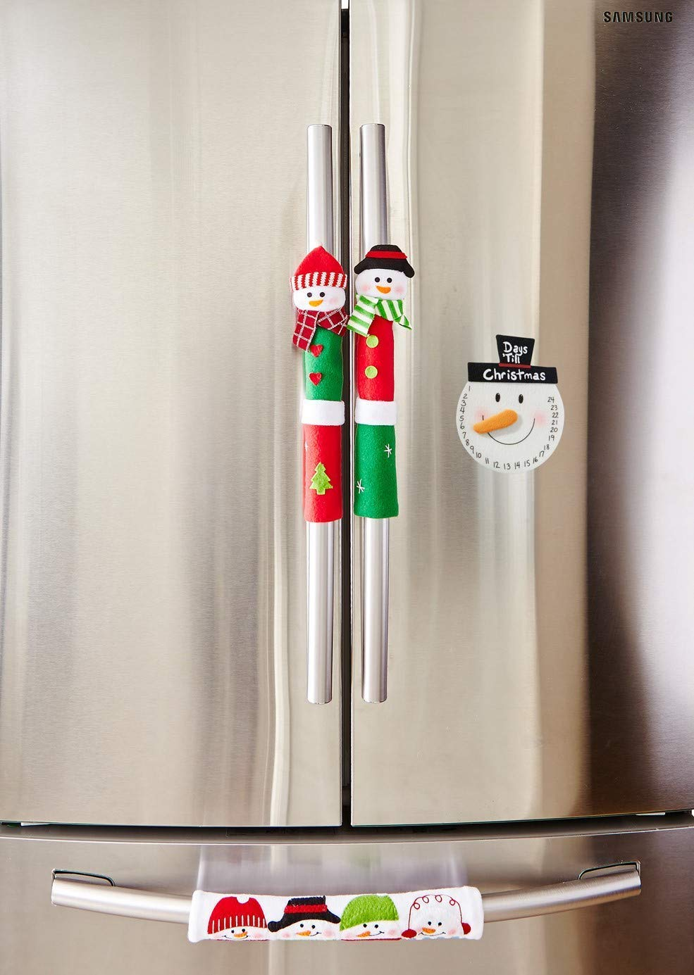 MSQ Christmas Decorations Holiday Ornaments 3pcs Christmas Snowman Handle Covers Appliance Decorations Handle Covers for Kitchen Refrigerator Microwave Oven, Best for Christmas/Thanksgiving Day