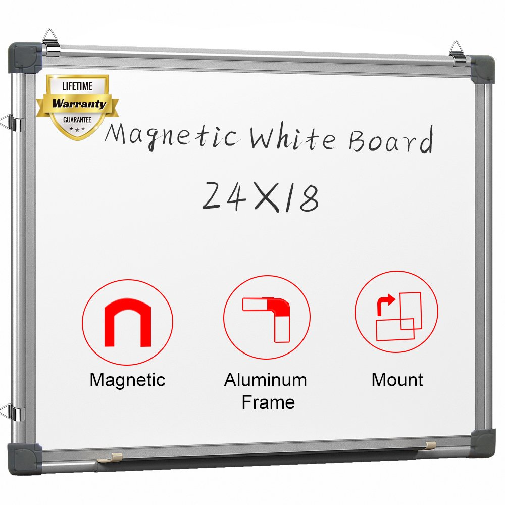 maxtek Magnetic White Board 24 x 18 Dry Erase Board Wall Hanging Whiteboard