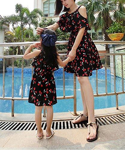 M de mre soie mousseline jupe fille assortie en et robe Cerise famille Keephen de fleurs robe plage dawPXWq