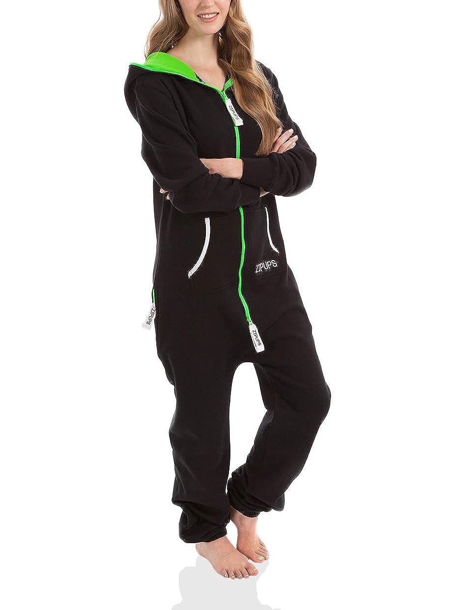 Zipups Mono-Pijama Neon Negro/Verde Flúor XS: Amazon.es: Ropa y accesorios