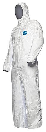Kategorie III 4-B Robust und Leicht |Gr/ö/ße L Chemikalienschutzkleidung mit Kapuze Typ 3-B DuPont Tyvek 800J Wei/ß 5-B und 6-B