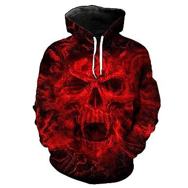 90433057c80d Amazon.com  Red Horror Skull 3D Print Hoodie
