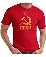 Cccp T-shirt Hammer Sickle Adult Soviet Tee - Red