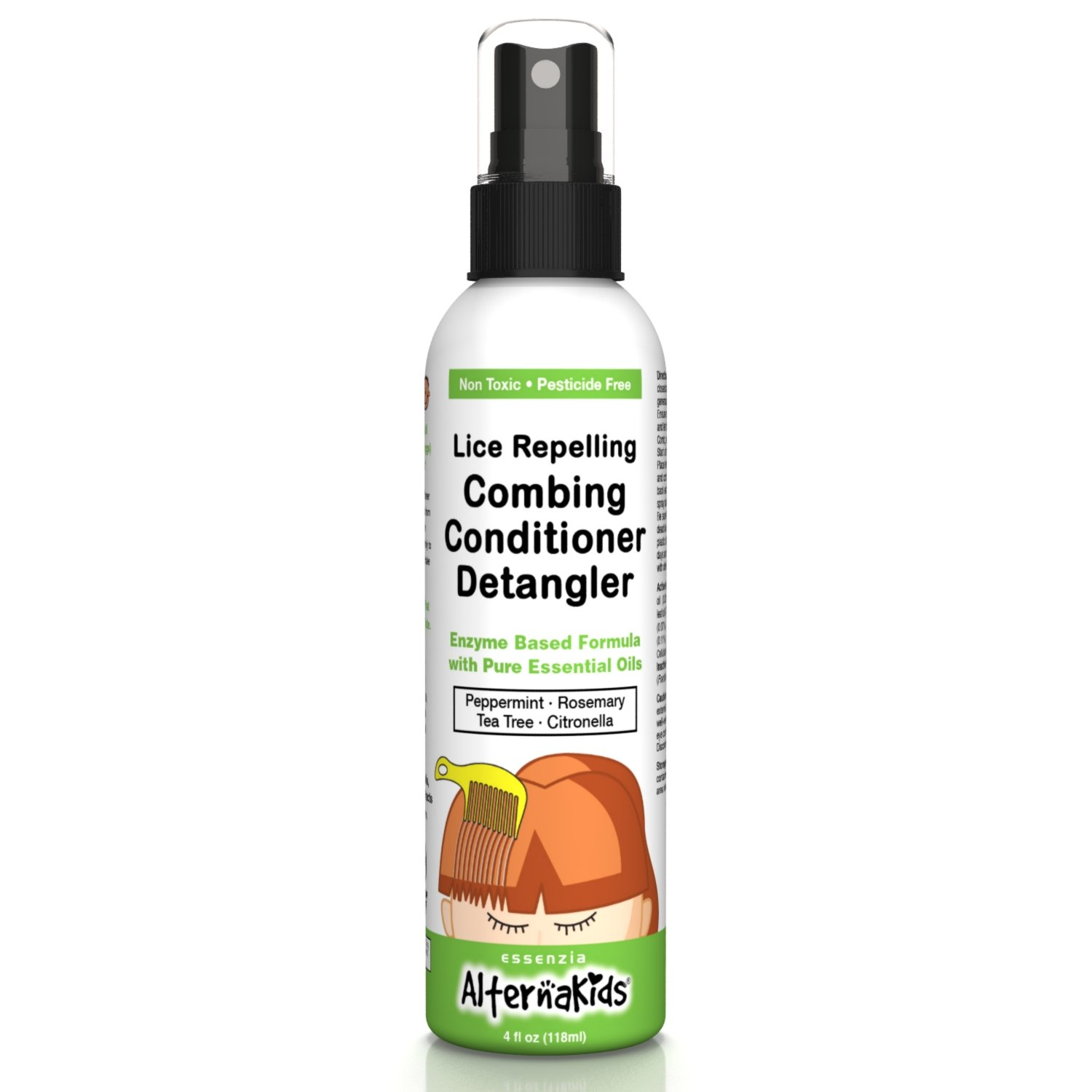 Natural Head Lice Detangler Conditioner by AlternaKids - Non-Toxic Hair Spray Treatment That Kills, Removes, Prevents Super Lice and Nits | for Kids and Adults (4 oz Bottle)