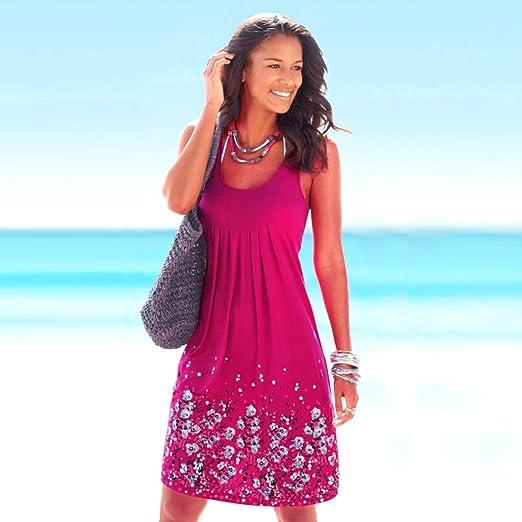 Mangotree Damen Sommerkleid Ärmellos Gedruckt Strandkleid Casual Lose A-Linie  Mini Vest Kleid Beachwear: Amazon.de: Bekleidung