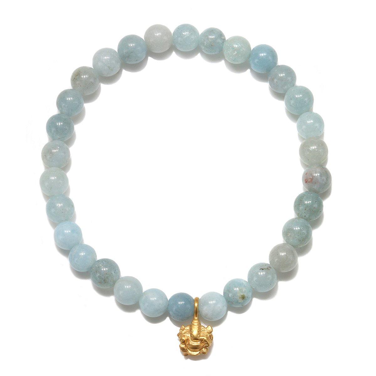 Satya Jewelry Womens Aquamarine Gold Ganesha Stretch Bracelet, Blue, One Size