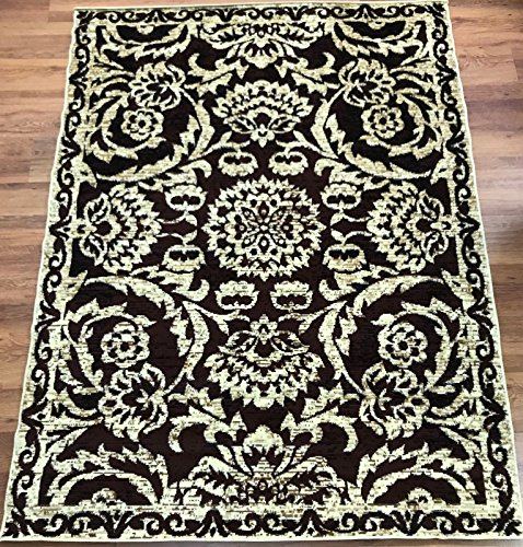 Antep Rugs Kashan King Collection Floral Polypropylene Indoor Area Rug (Beige/Brown 5' X 7')