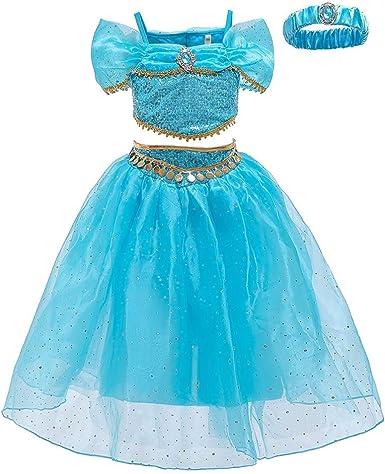 IWEMEK Niña Disfraz de Princesa Jasmine Vestido Aladdin árabe ...