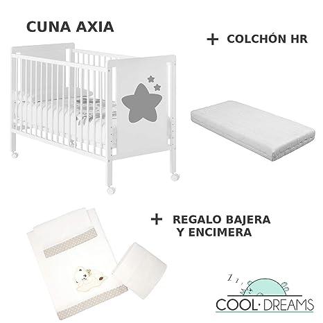 Cuna colecho de bebe Axia + Kit colecho + Colchón HR + 4 ruedas + Regalo