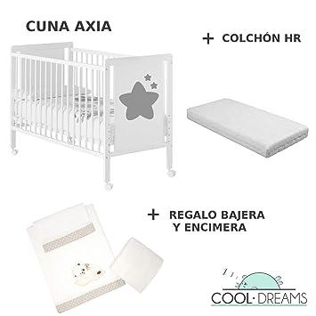 Cuna colecho de bebe Axia + Kit colecho + Colchón HR + 4 ruedas: Amazon.es: Bebé