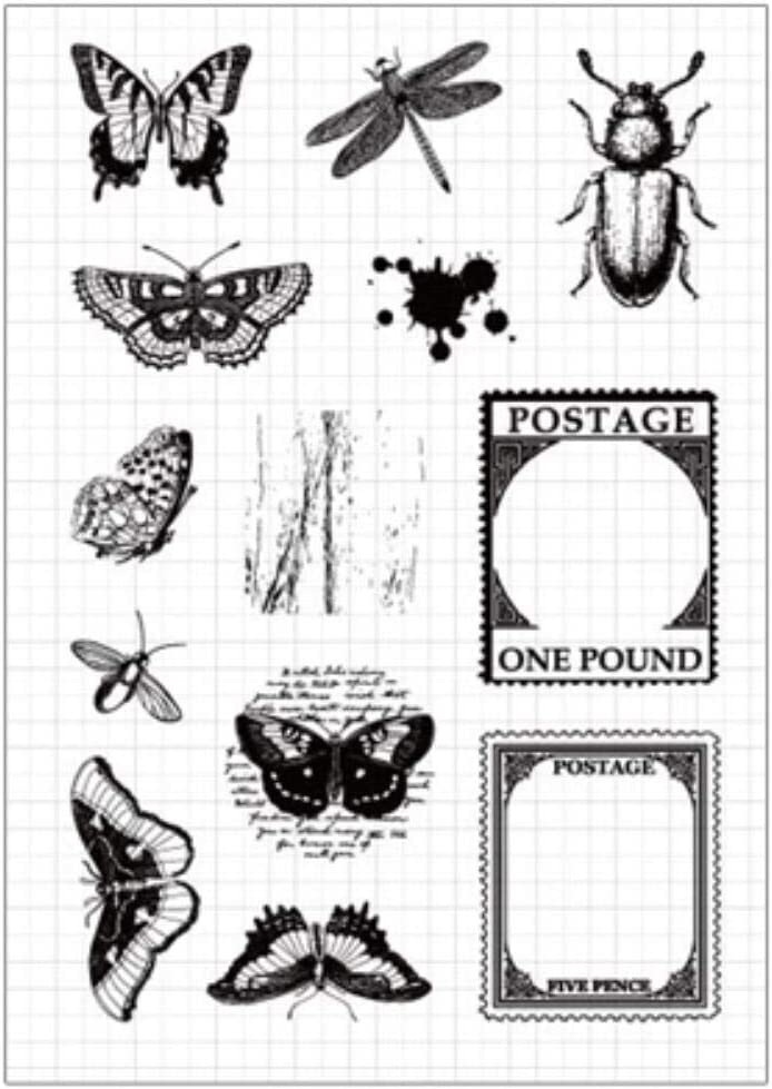 Sello transparente de silicona transparente para insectos de plantas vintage para /álbum de /álbumes de recortes DIY decoraci/ón artesanal papeler/ía de sello de goma 01 postal