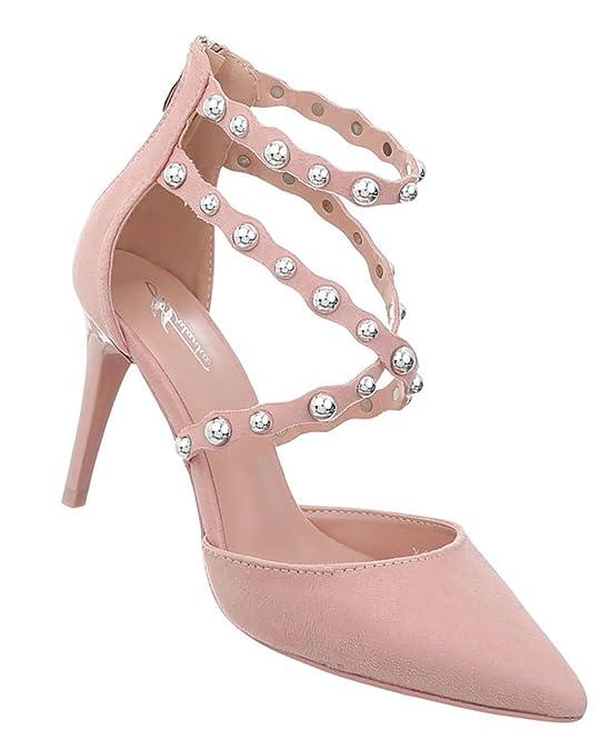 Damen Schuhe Pumps Nieten High Heels Stiletto Abendschuhe Sandaletten Rosa 40 dGuSw