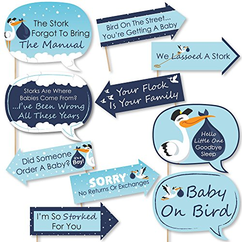 Funny Boy Special Delivery - Blue It's A Boy Stork Baby Shower Photo Booth Props Kit - 10 ()