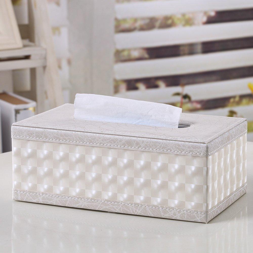 Kentop Portafazzoletti rettangolare in pelle fazzoletto Dispenser Perla Colore