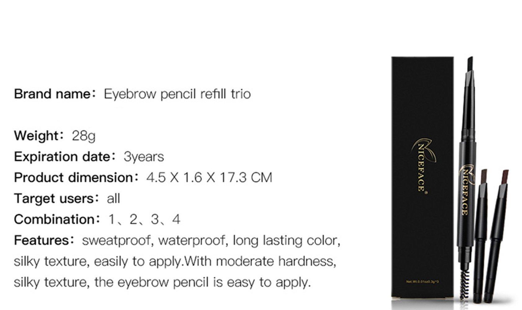 Eyebrow Pencil Eye Brow Brush with 3 Colors Replaceable Brow Pencil Waterproof Double-Headed Pencil, Black, Dark Brown, Light Brown (Black, Coffee, Gray)