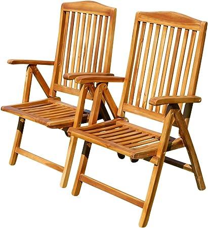 ASS Doppelpack Techt Teak Hochlehner Gartensessel Gartenstuhl Sessel Holzsessel Klappsessel Gartenmöbel 7fach verstellbar Holz sehr robust Modell: