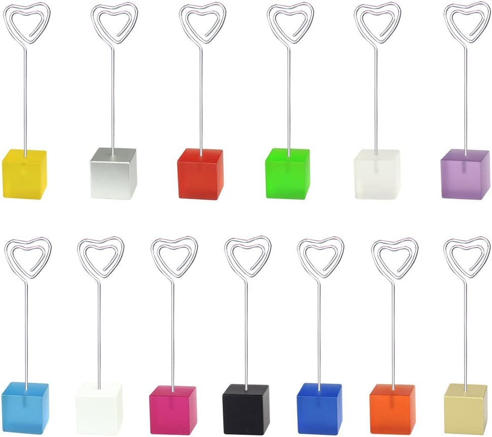 Mike Home Cube Base Table Number Card Holders Memo Holder Note Clip Photo Holder Stands for Weddings Party Random Color 13 Pcs (Heart Shape)