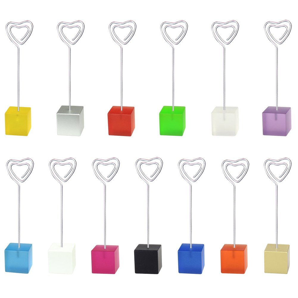 Mike Home Cube Base Table Number Card Holders Memo Holder Note Clip Photo Holder Stands for Weddings Party Random color 13 Pcs (Music note shape)