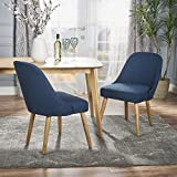 Cheap Christopher Knight Home 302119 Trestin Mid Century Navy Blue Fabric Dining Chair (Set of 2), Natural