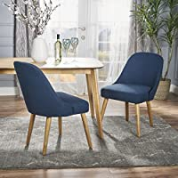 Trimay Mid Century Navy Blue Fabric Dining Chair (Set of 2)