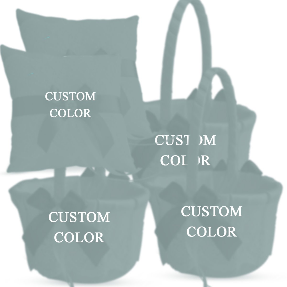 Roman Store Custom Color Wedding Ring Bearer Pillow and Flower Girl Basket Set – Satin &Ribbons – Pairs Well with Most Dresses & Themes – Splendour Every Wedding Deserves