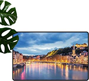 """European Floor Mat, View of Saone River in Lyon City at Evening France Blue Hour Historic Buildings Floor Cover Area Rug for Kids Children Play Mat, 31"""" W x 47"""" L Multicolor"""
