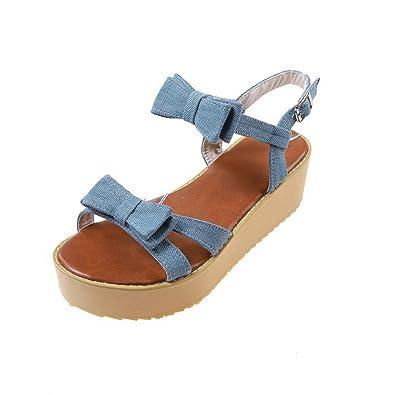 VogueZone009 Damen Offener Zehe Mittler Absatz Weiches Material Rein Flache  Sandalen, Blau, 31