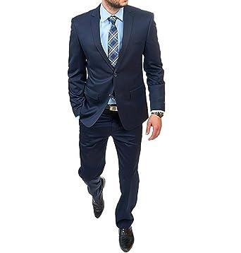 Amazon.com: Botong azul hombres trajes 2 piezas 2 Botones ...