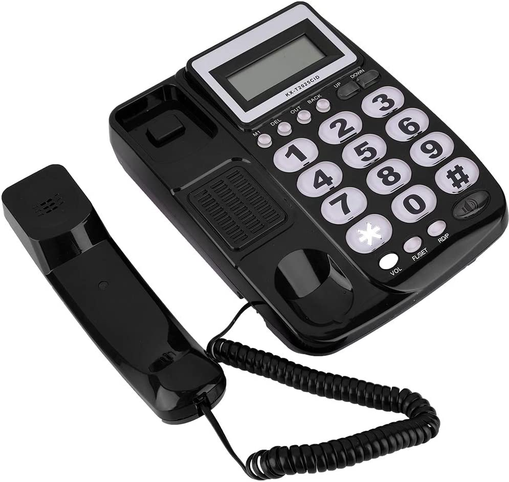 Corded Telephone,Desktop Corded Landline Telephone With Caller ID Display With Speakerphone for Home Office black
