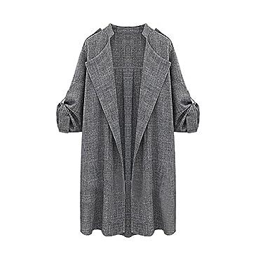 Ularma Abrigos de la mujer, Manto largo delantero abierto chaquetas abrigo (XXL, gris