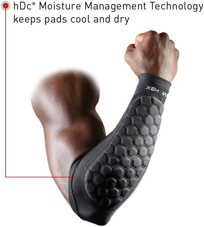 McDavid Hex Padded Forearm Compression Sleeve for Football & Contact Sports, Moisture Wicking to Keep You Dry & Cool, Includes 2 Sleeves: Sports & Outdoors
