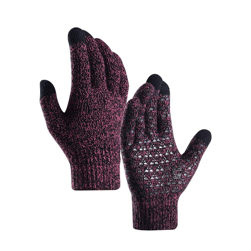 yanbirdfx 1 Pair Winter Cycling Full Finger Knitted Warm Men Women Touch Screen Gloves - Women Rose Red