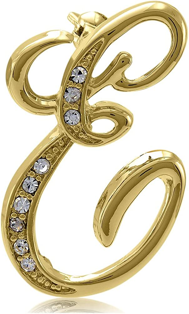 BERRICLE Gold Flashed Base Metal Initial Letter Fashion Brooch Pin