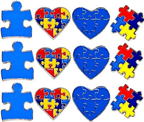 12 Piece Set 3 Of Each New Design Autism Awareness Heart Colorful Puzzle Pieces Lapel Hat Pins PPM7306 -