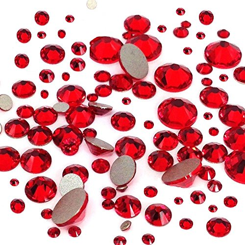 LIGHT SIAM (227) red 144 pcs Swarovski 2058/2088 Crystal Flatbacks red rhinestones nail art mixed with Sizes ss5, ss7, ss9, ss12, ss16, ss20, ss30