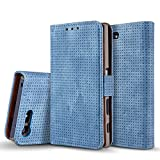 Xperia X Compact Case, Dfly-US Premium PU Leather Flip Wallet Case Cover with Breathe Freely Design for Sony Xperia X Compact, Blue