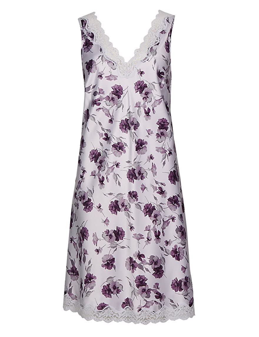 Ladies Famous Make Satin Chemise Nightdress. Lilac/Purple Floral. Sizes 8 10 12 14 16 18 20 22