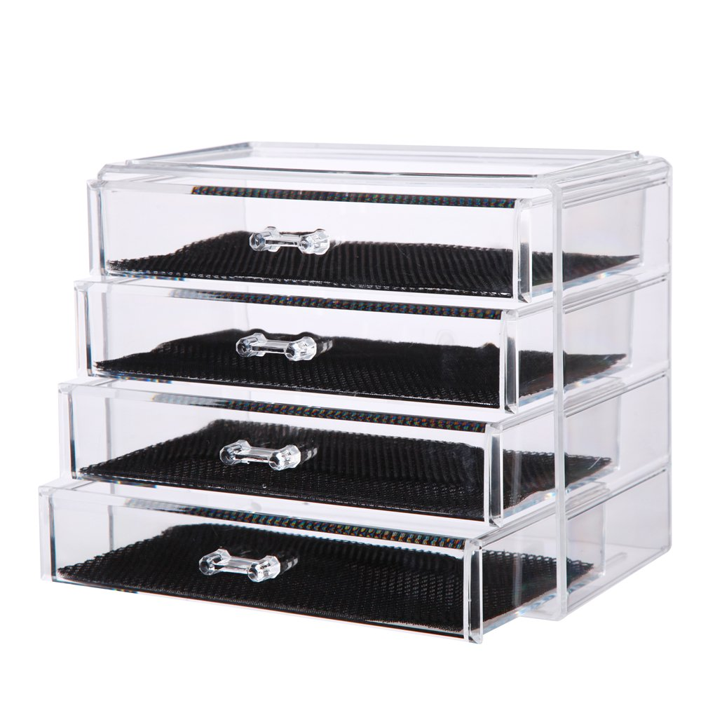 Vencer Cosmetics Makeup and Jewelry Storage Case Display (4 Large Drawers) VMO-017