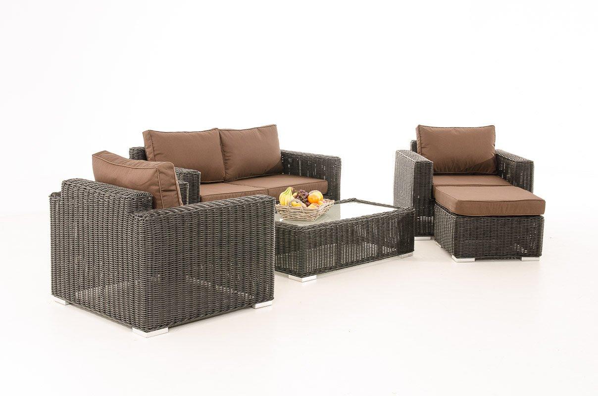 2-1-1 Gartengarnitur CP050 Sitzgruppe Lounge-Garnitur Poly-Rattan ~ Kissen terrabraun, schwarz