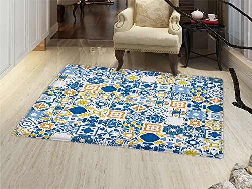 smallbeefly Yellow and Blue Door Mats for home Mosaic Portuguese Azulejo Mediterranean Arabesque Effect Bath Mat Bathroom Mat with Non Slip Violet Blue Mustard (Mediterranean Blue Mosaic)