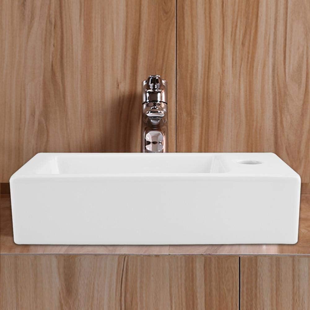 37x19x10cm GOTOTO Lavabo Rectangulaire en C/éramique Blanche /Évier Lave-Mains Vasque /à Poser pour WC Vestiaire Salle de Bain