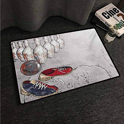 - HCCJLCKS Thin Door mat Bowling Party Bowling Shoes Pins and Ball in Artistic Grunge Style Print All Season General W31 xL47 Pale Grey Red and Dark Blue