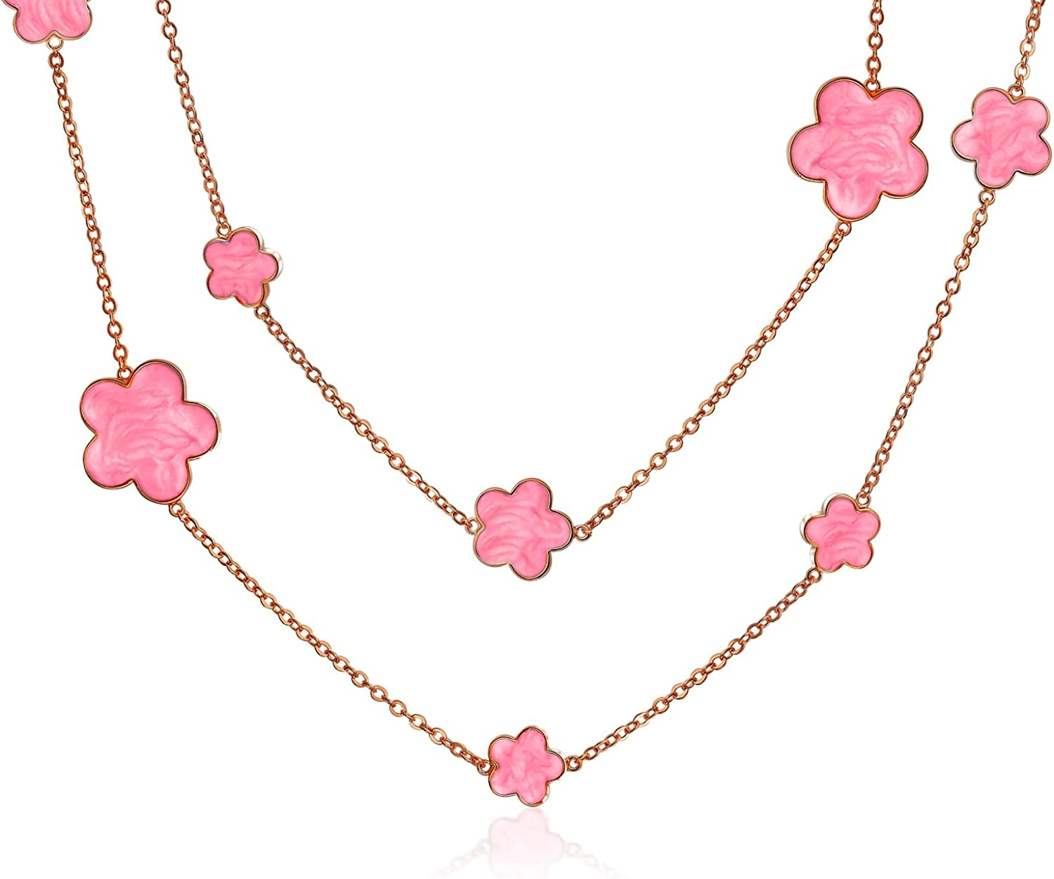 Black Clover Flower Gold Plate Brass Station Tin Cup Chain Wrap Layer Necklace